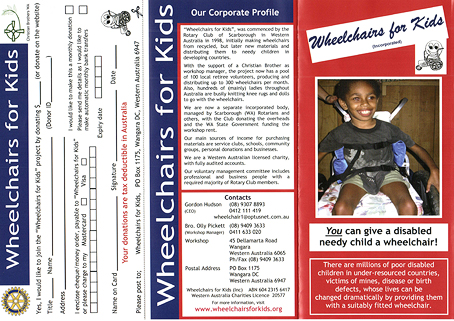 Wheelchairs For Kids brochure outside