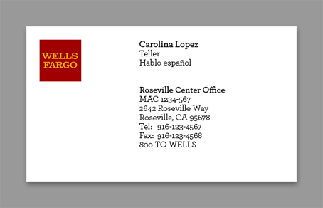 Wells Fargo Business card front