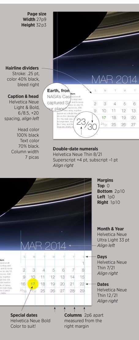 NASA calendar specs