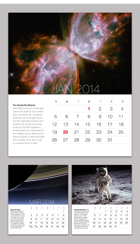 Calendar featuring photo's from NASA's archives