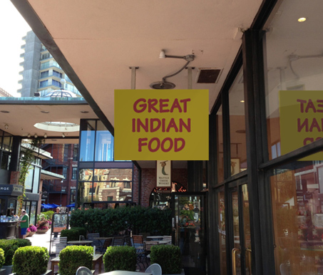 Great Indian Food sign after