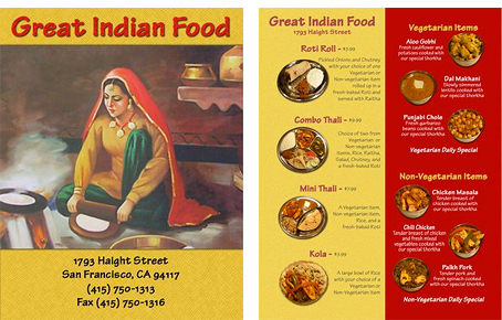 Great Indian Food menu