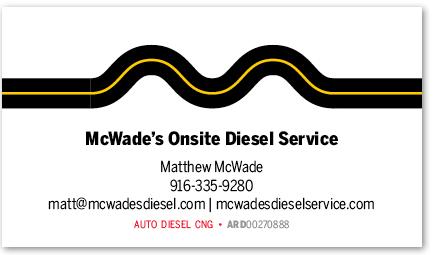 McWade's Onsite Diesel Service card version 10c