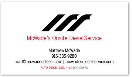 McWade's Onsite Diesel Service card version 11b