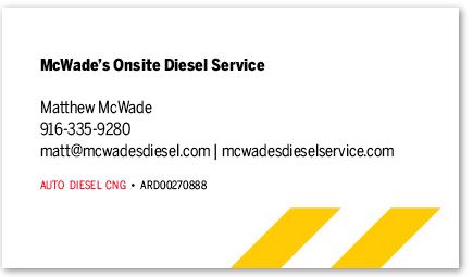 McWade's Onsite Diesel Service card version 13b