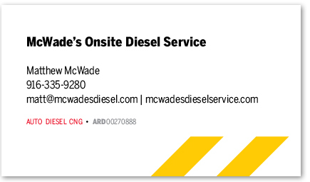 McWade's Onsite Diesel Service card version 14a