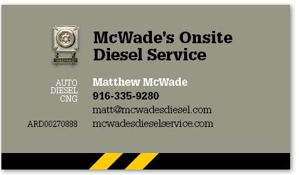 McWade's Onsite Diesel Service card version 20c