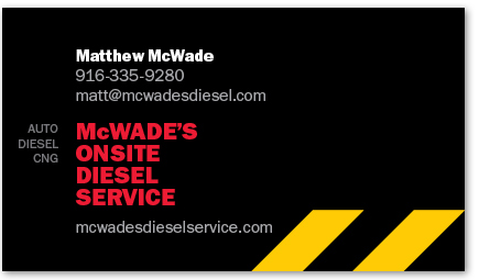 McWade's Onsite Diesel Service card version 4a