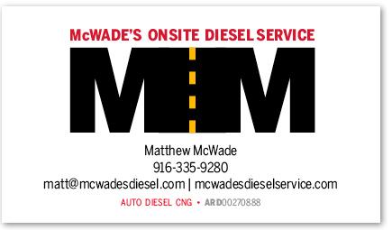 McWade's Onsite Diesel Service card version 9c