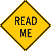 Read Me Road Sign